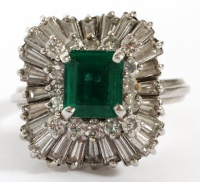 Emerald, Diamond And Platinum Ring - Pendant
