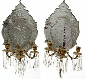 French Mirrored Three-light Sconces Pair