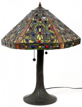 6 Panel Leaded Glass Table Lamp