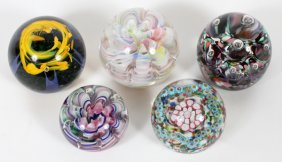 Scottish & American Glass Paperweights 5 Pcs.
