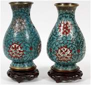 CHINESE CLOISONNE VASES 19TH C SIGNED PAIR