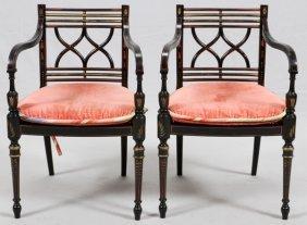 Regency Style Wood Open Armchairs W/ Cane Seats