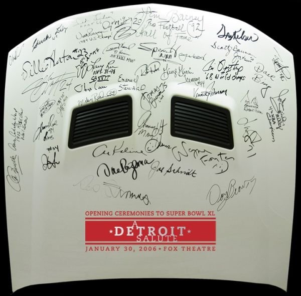 1901: `06 FORD MUSTANG HOOD SIGNED BY SPORTS CELEBS