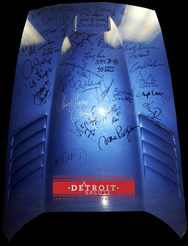 1903: `06 DODGE VIPER HOOD SIGNED BY SPORTS CELEBS