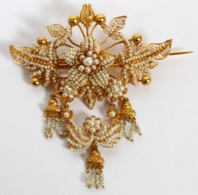 Vintage 18kt Yellow Gold & Seed Pearl Brooch