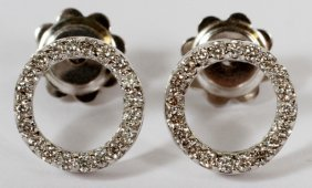 0.50ct Diamond And 14kt White Gold Circle Earrings