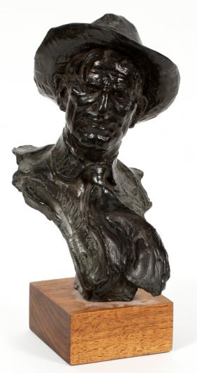 Edward James Froughton Bronze Bust Of Cowboy 1977