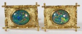 14kt Yellow Gold & Opal Cufflinks Pair