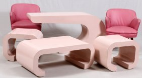 Karl Springer Style Tables Chairs And Sofa Table