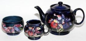 Moorcroft Orchid Pottery Teapot, Creamer & Sugar