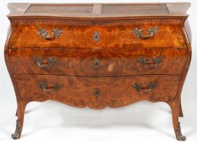 French Marquetry Inlaid Bombe Commode 19th C