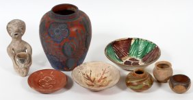 Pre-columbian Style Figure & Jars