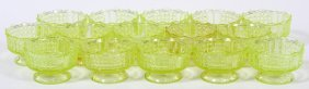 Vaseline Glass Berry Dishes C. 1870