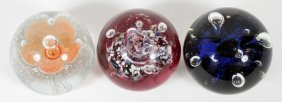Scottish Glass Paperweights 3 Pieces