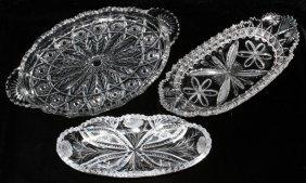 Cut & Pressed Glass Trays Circa 1900 Three