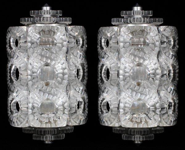 LALIQUE 'SEVILLE' FROSTED GLASS SCONCES PAIR