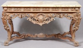 Italian Carved Console W/ Marble Top
