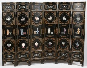 Japanese Six-panel Hardstone Screen 20th C.