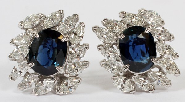 7.36CT NATURAL SAPPHIRE & DIAMOND EARRINGS PAIR