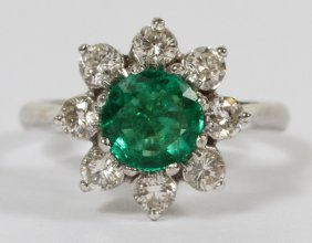Emerald .80ct Diamond And 14kt White Gold Ring
