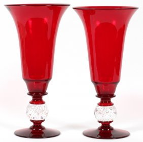 Pairpoint Ruby Glass Vases Two