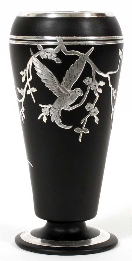 Art Deco Silver Overlay Black Glass Vase C 1920