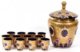 Murano Cobalt Glass Punch Bowl & Cups C. 1950