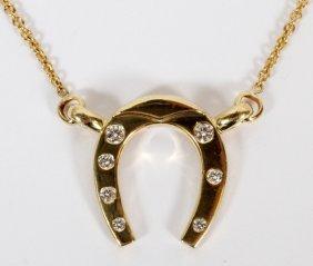 18kt Gold & Diamond Horseshoe Pendant Necklace