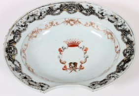 Chinese Export Armorial Porcelain Barber's Bowl