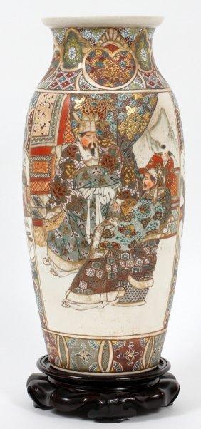 Japanese Satsuma Earthenware Vase Meiji Period