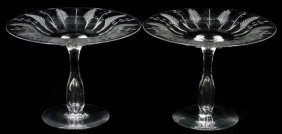Libbey Etched Crystal Compotes Pair