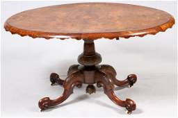 VICTORIAN WALNUT & MARQUETRY OVAL TILT-TOP TABLE