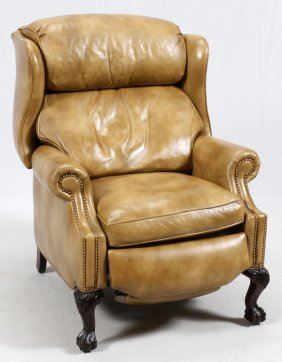 Hancock & Moore Tan Leather Recliner Chair