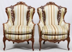 Carved Walnut & Upholstered Armchairs C. 1940 Pair
