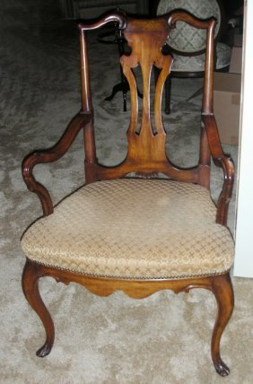 Hand Carved Walnut Open Arm Chair Circa 1930