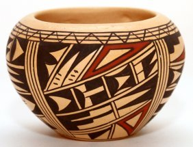 Ida Susunkewa Polychrome Pottery Seed Pot, Hopi