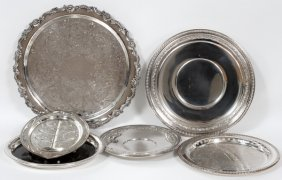 Silverplate Serving Trays Six