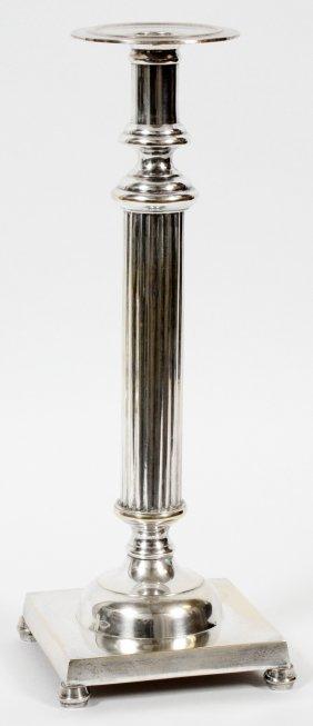 Indian Patinated Metal Candle Prick & Pillar