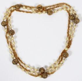 Chanel Faux Pearl & Gold Tone Sautoir