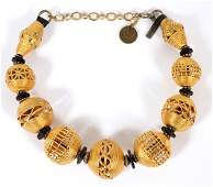 GOLD-PLATED METAL BASKET BEADS NECKLACE