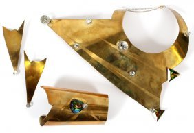 Contemporary Hand-made Brass & Crystal Jewelry