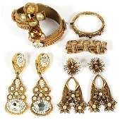CONTEMPORARY GOLD TONE COSTUME JEWELRY SEVEN PIECES