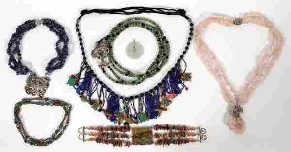 BEADED NECKLACES & CHINESE JADE PENDANT