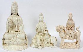 Chinese Blanc De Chine Figures Of Buddha Three