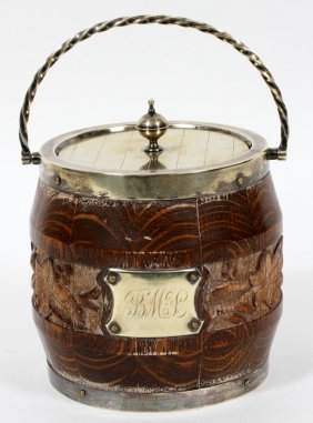 English Sheffield Plate And Oak Biscuit Jar 19th.c.