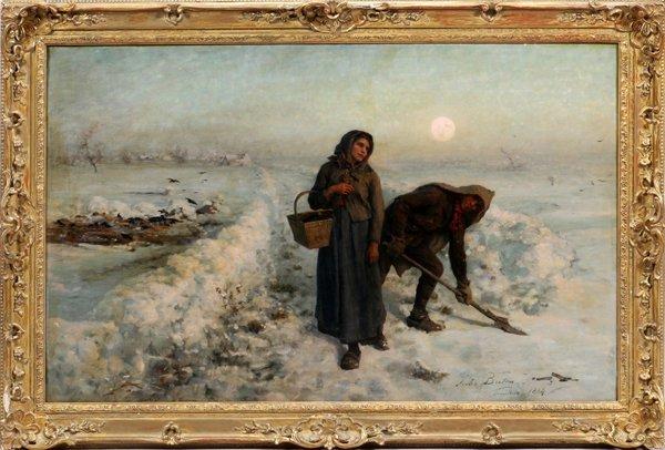 JULES BRETON OIL ON CANVAS 1884