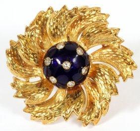 18 Kt Gold Enamel And Diamond Brooch