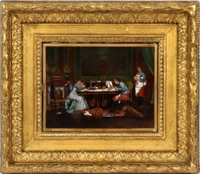 French Dressing Mirror Oil Painting, 3 Section