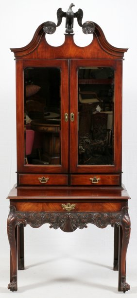 Irish Carved Mahogany Secretary C.1890