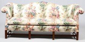 Chinese Chippendale Style Mahogany Camel Back Sofa
